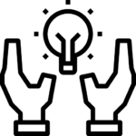 an illustration of lightbulb and hand.